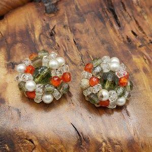 Vintage smoke crystal pearl olive green tangerine